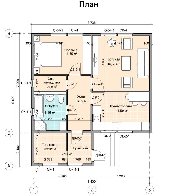 Одноквартирный жилой дом ПД-4-К-65 план