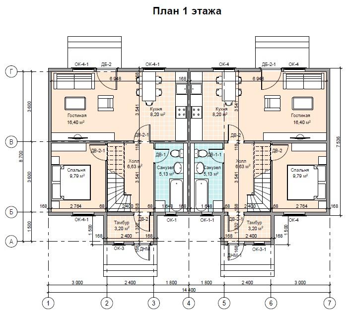 Мансардный 2-х квартирный жилой дом ПД-125-К-160 1 этаж