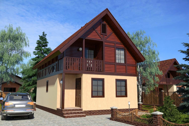 Готовый проект дома с мансардой 125 м2
