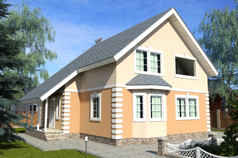 Готовый проект дома с мансардой 160 м2