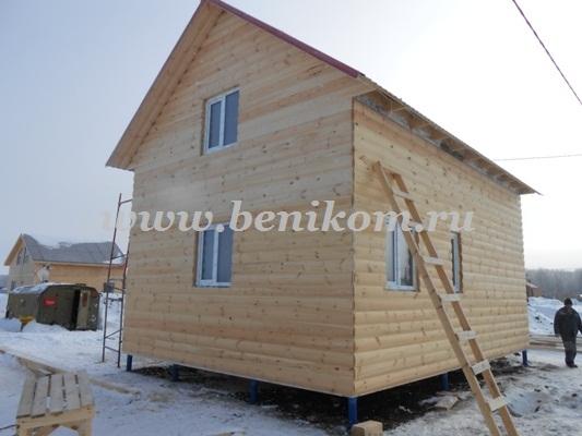 Монтаж каркасного дома и фундамента на винтовых сваях в Луговом