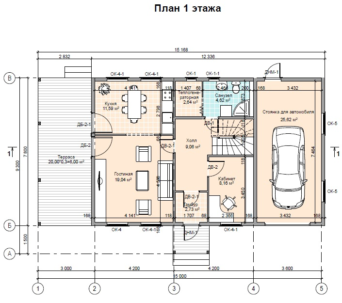 проект двухэтажного дома с гаражом 1 этаж