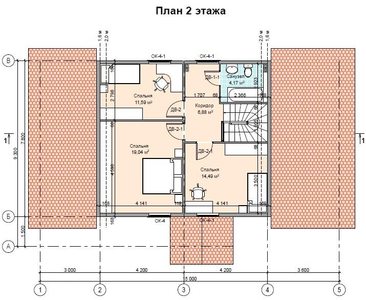 проект двухэтажного дома с гаражом 2 этаж