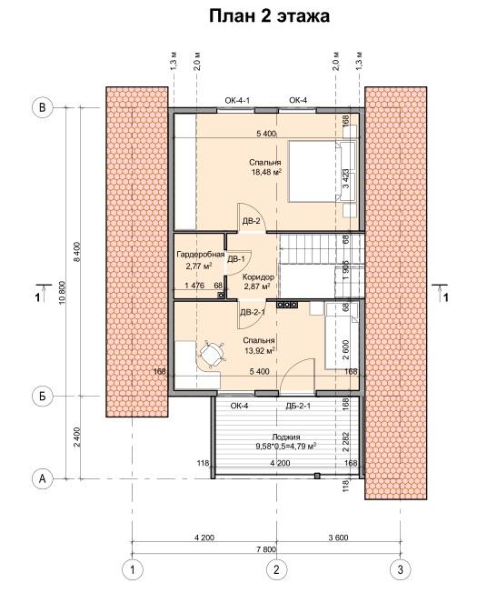 Мансардный жилой дом план 2 этаж