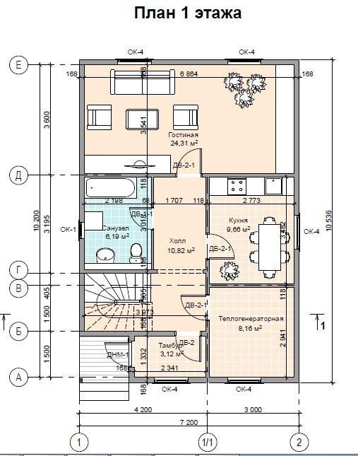 План дома ПД-27 1 этаж