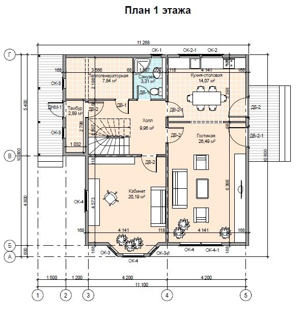 Проект каркасного дома ПД-44-К-160 план 1 этаж