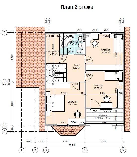 Проект каркасного дома ПД-44-К-160 план 2 этаж