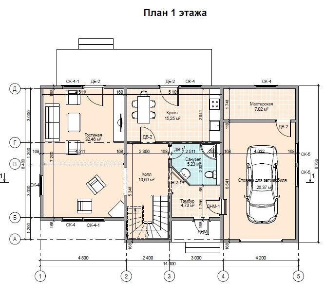 Проект каркасного дома ПД-68-К-187 Тюмень 1 этаж