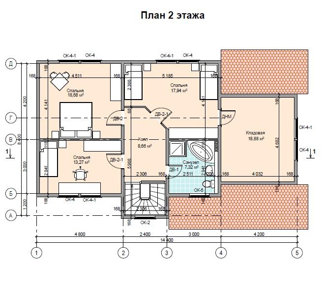Проект каркасного дома ПД-68-К-187 Тюмень 2 этаж
