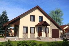 Готовый проект двухэтажного дома с гаражом и террасой ПД-102-К-163