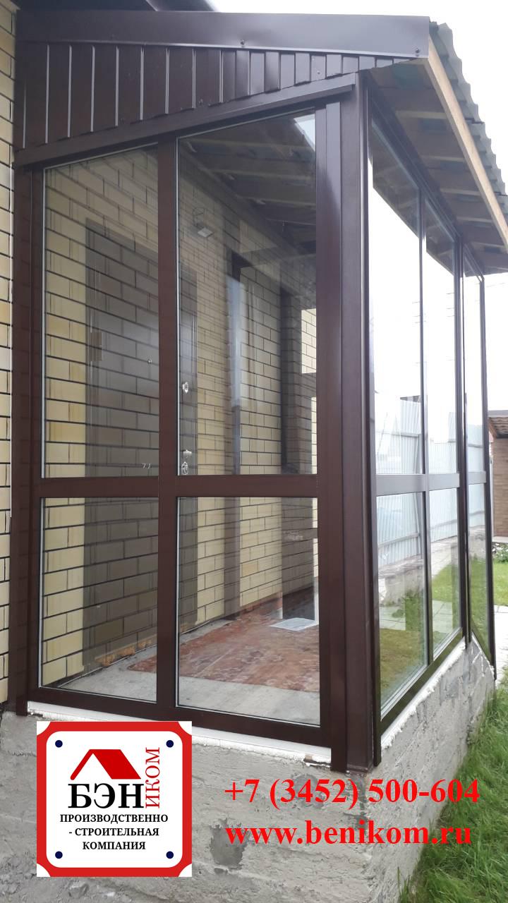 Тамбур в частный дом из алюминиевого профиля